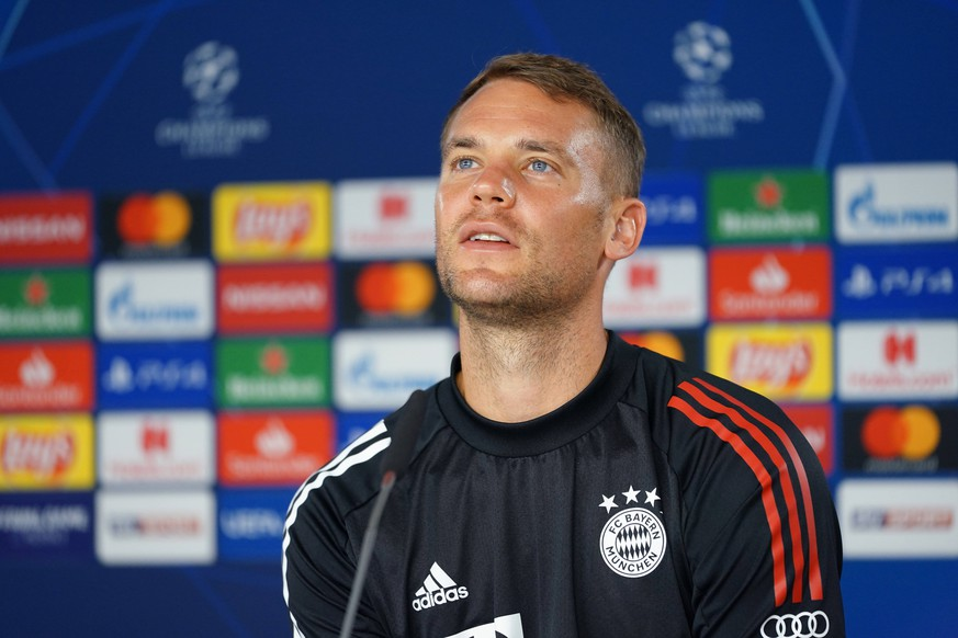 FC Bayern Muenchen Training And press conference, PK, Pressekonferenz MUNICH, GERMANY - AUGUST 07: Manuel Neuer attends a Bayern Muenchen press conference ahead of their UEFA Champions League round of 16 second leg match against Chelsea FC at Saebener Strasse training ground on August 07, 2020 in Munich, Germany. Photo by M. Donato/FC Bayern Munich Saebener Strasse training ground Bavaria Germany *** FC Bayern Muenchen Training And Press Conference MUNICH, GERMANY AUGUST 07 Manuel Neuer attends a Bayern Muenchen press conference ahead of their UEFA Champions League round of 16 second leg match against Chelsea FC at Saebener Strasse training ground on August 07, 2020 in Munich, Germany Photo by M Donato FC Bayern Munich Saebener Strasse training ground Bavaria Germany Poolfoto FC Bayern ,EDITORIAL USE ONLY