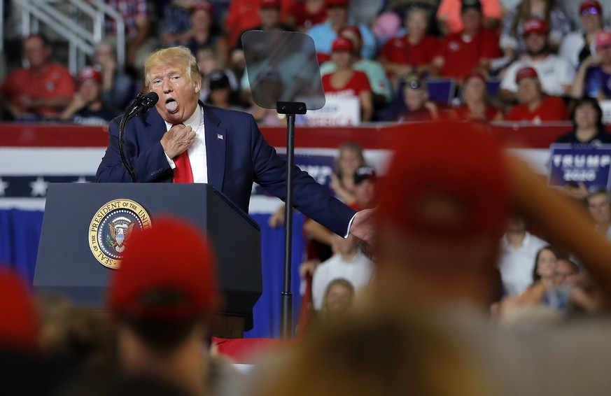 President Donald Trump speaks at a campaign rally at Williams Arena in Greenville, N.C., Wednesday, July 17, 2019. (AP Photo/Carolyn Kaster)