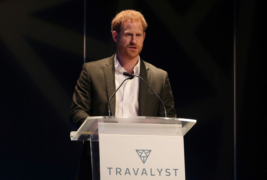 Britain's Prince Harry speaks as he attends a sustainable tourism summit at the Edinburgh International Conference Centre in Edinburgh, Scotland, Britain February 26, 2020.   Andrew Milligan/Pool via REUTERS