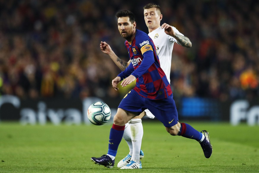 Lionel Messi Barcelona, Toni Kroos Real, DECEMBER 18, 2019 - Football / Soccer : Spanish La Liga Santander match between FC Barcelona, Barca 0-0 Real Madrid at the Camp Nou stadium in Barcelona, Spain. Noxthirdxpartyxsales PUBLICATIONxINxGERxSUIxAUTxHUNxONLY 118744643