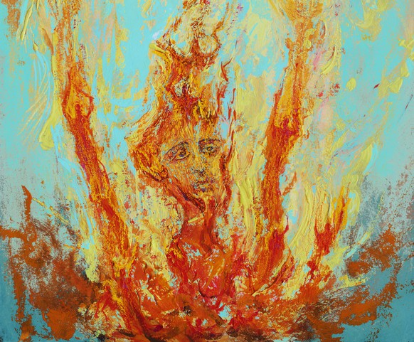 Fashionable illustration contemporary art my original oil painting on canvas religion sacred art symbolism man dying from sin and burning in hell praying for his salvation in repentance against the background of burning fire
