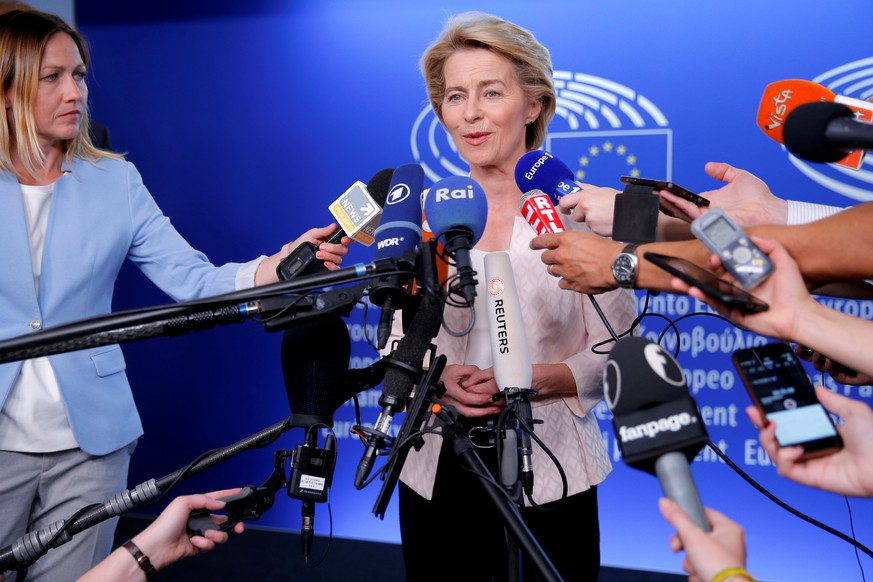 German Defense Minister Ursula von der Leyen, who has been nominated as European Commission President, attends a news conference during a visit at the European Parliament in Strasbourg, France, July 3, 2019.   REUTERS/Vincent Kessler