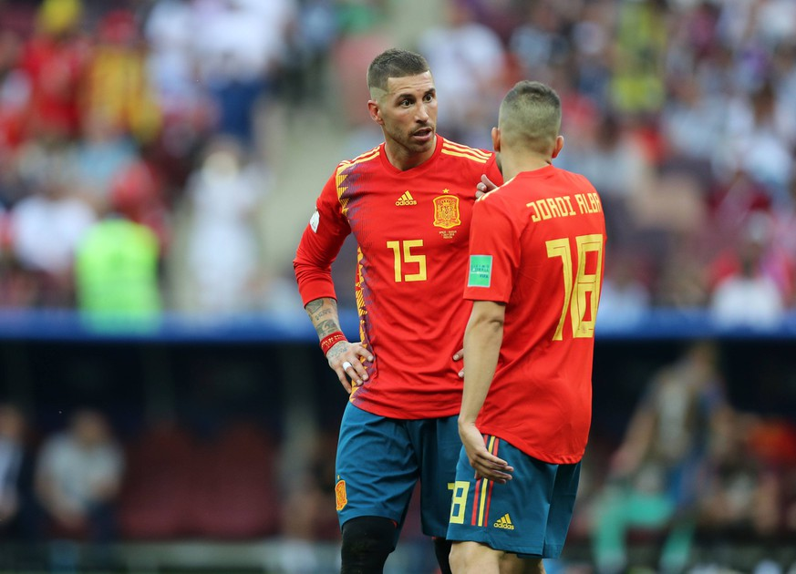 Sergio Ramos (ESP), Jordi Alba (ESP), JULY 1, 2018 - Football / Soccer : FIFA World Cup WM Weltmeisterschaft Fussball Russia 2018 Round of 16 match match between Spain 1 (3 PK 4) 1 Russia at Fisht Stadium in Sochi, Russia. Noxthirdxpartyxsales PUBLICATIONxINxGERxSUIxAUTxHUNxONLY (81318388)