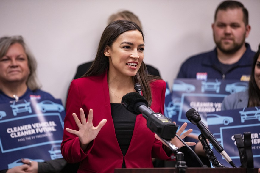 WASHINGTON, DC - FEBRUARY 06: Rep. Alexandria Ocasio-Cortez (D-NY) speaks during a press conference with Rep. Andy Levin (D-MI) about their new bill called the EV Freedom Act on Capitol Hill on February 6, 2020 in Washington, DC. The EV Freedom Act is a plan to create a nation wide charging infrastructure for electric vehicles. (Photo by Samuel Corum/Getty Images)