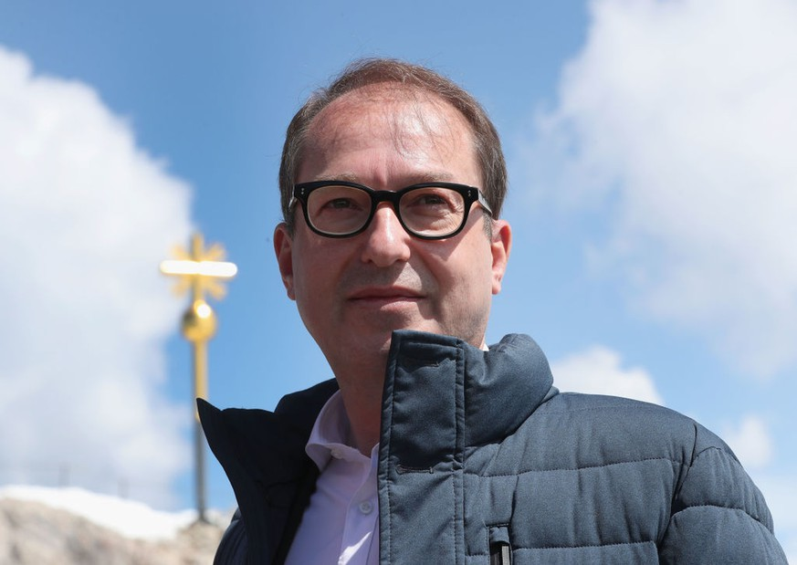 GARMISCH-PARTENKIRCHEN, GERMANY - MAY 07:  Alexander Dobrindt, leader of the Bundestag faction of the Bavarian Christian Democrats (CSU), poses for a photo next to Zugspitze mountain on May 7, 2018 in Garmisch-Partenkirchen, Germany. The leadership of the three party Bundestag factions are meeting at a congress center at the Zugspitze for a two-day series of discussions. The SPD and the CDU/CSU together form the ruling German government coalition.  (Photo by Alexandra Beier/Getty Images)