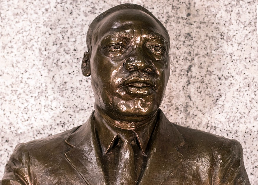 In this undated photo supplied by the U.S. Embassy in Pretoria, a bust of Martin Luther King Jr. on display at the embassy in Pretoria South Africa. The name of the Rev. Martin Luther King Jr. can be found across Africa on streets, schools, even a bridge in Burkina Faso. It is a measure of the influence of the American civil rights leader who was shot dead 50 years ago after speaking out against injustices at home and abroad. (Chris Marais/US Embassy South Africa via AP)