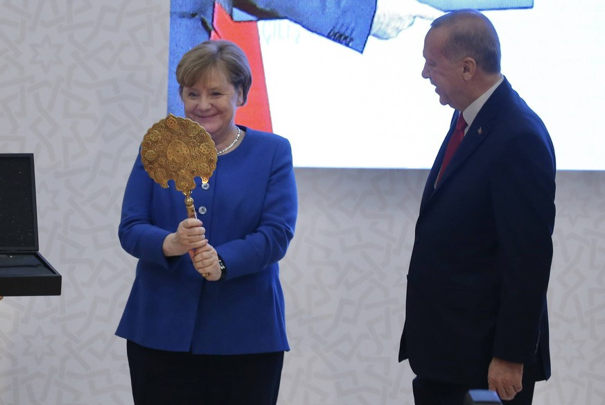 Germany Chancellor Angela Merkel and Turkey President Recep Tayyip Erdogan attend opening ceremony of new campus of Turkish-German University in Beykoz City, Istanbul. 16637695