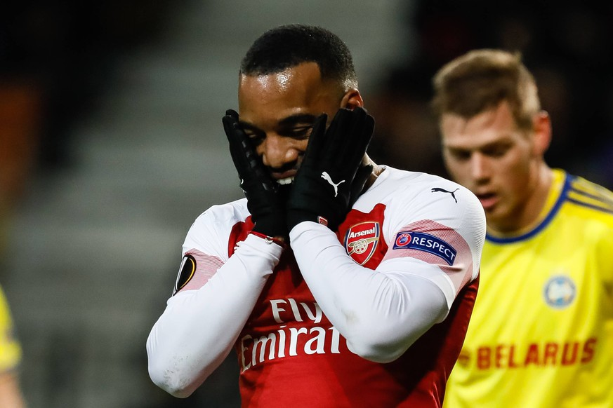 Sport Bilder des Tages February 14, 2019 - Borisov, Belarus - Alexandre Lacazette of Arsenal reacts during the UEFA Europa League Round of 32 first leg match between FC BATE Borisov and Arsenal FC on February 14, 2019 at Borisov-Arena in Borisov, Belarus. BATE Borisov v Arsenal - UEFA Europa League Round of 32: First Leg 185 PUBLICATIONxINxGERxSUIxAUTxONLY - ZUMAn230 20190214_zaa_n230_1253 Copyright: xMikexKireevx