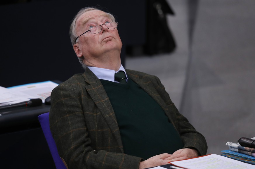 BERLIN, GERMANY - NOVEMBER 21: Alexander Gauland, co-Bundestag faction leader of the right-wing Alternative for Germany (AfD) political party, looks at the ceiling after his colleague Alice Weidel spoke during debates over the next federal budget at the Bundestag on November 21, 2018 in Berlin, Germany. Weidel is under investigation by authorities over possibly illegal campaign contributions during 2017 German parliamentary elections.   (Photo by Sean Gallup/Getty Images)