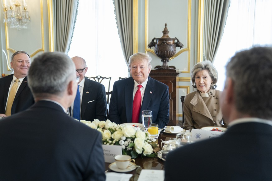 December 3, 2019, London, United Kingdom: President Donald J. Trump is joined by U.S. Ambassador to Great Britain Woody Johnson, U.S. Ambassador to NATO Kay Bailey Hutchison and senior White House staff at their breakfast with NATO Secretary General Jens Stoltenberg Tuesday, Dec. 3, 2019, at Winfield House in London. London United Kingdom PUBLICATIONxINxGERxSUIxAUTxONLY - ZUMAz03 20191203shaz03625 Copyright: xShealahxCraigheadx