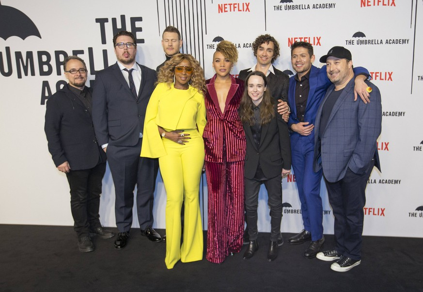 February 14, 2019 - Toronto, ON, Canada - TORONTO, ON - FEBRUARY 14: From left, Jeff King, Cameron Britton, Tom Hopper, Mary J Blige, Emmy Raver-Lampman, Robert Sheehan (behind), Ellen Page, David Castaneda and Steve Blackman. Bell TIFF Lightbox hosted a screening of new superhero movie, The Umbrella Academy, produced by Netflix. Toronto Star/ /Toronto Star Toronto Canada PUBLICATIONxINxGERxSUIxAUTxONLY - ZUMAt14_ 20190214_zan_t14_006 Copyright: xRickxMadonikx