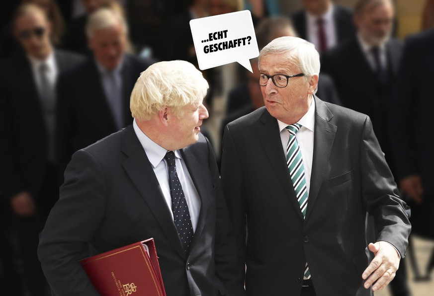 LUXEMBOURG, LUXEMBOURG - SEPTEMBER 16: European Commission President Jean-Claude Juncker (R) poses with British Prime Minister Boris Johnson prior to a meeting at a restaurant on September 16, 2019 in Luxembourg. British Prime Minister Boris Johnson is holding his first meeting with European Commission President Jean-Claude Juncker in search of a Brexit deal. (Photo by Francisco Seco - Pool/Getty Images)