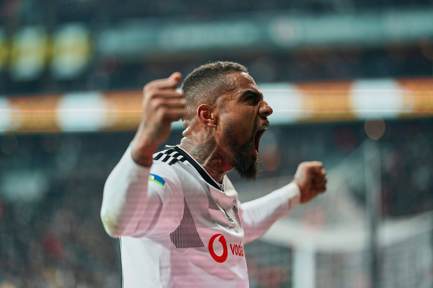 February 22, 2020: Kevin-Prince Boateng of Besiktas celebrating Besiktas scoring their second goal during Besiktas against Trabzonspor on Vodafone Park, Istanbul, Turkey. /CSM Super Lig - Besiktas against Trabzonspor PUBLICATIONxINxGERxSUIxAUTxONLY - ZUMAc04 20200222zafc04047 Copyright: xKimxPricex