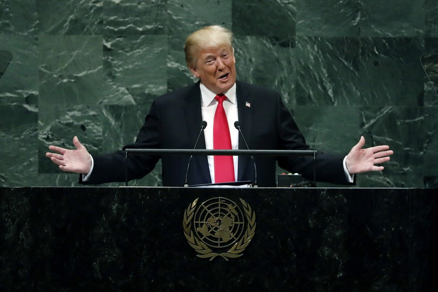 President Donald Trump addresses the 73rd session of the United Nations General Assembly, at U.N. headquarters, Tuesday, Sept. 25, 2018. A sound of sudden, loud and unexpected laughter was directed at Trump as he addressed global leaders at the United Nations, and it was witnessed by an audience of tens of millions viewing immediate clips online of a humiliating moment for Donald Trump. The laughter followed Trump's boasts that