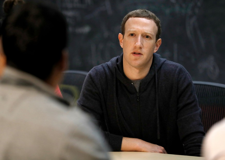 FILE - In this Nov. 9, 2017, file photo, Facebook CEO Mark Zuckerberg meets with a group of entrepreneurs and innovators during a round-table discussion in St. Louis. As Zuckerberg prepares to testify before Congress over Facebook's privacy fiasco, public-relations experts who have prepped CEOs before have plenty of advice on handling the hot seat. (AP Photo/Jeff Roberson, File)