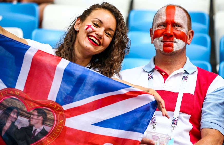 SAMARA, RUSSIA - JULY 7, 2018: England s fans ahead of the 2018 FIFA World Cup WM Weltmeisterschaft Fussball Quarterfinal match between Sweden and England at Samara Arena Stadium. Anton Novoderezhkin/TASS PUBLICATIONxINxGERxAUTxONLY TS0886A0