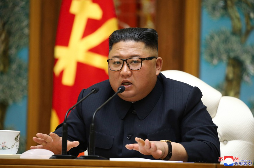 April 12, 2020: N.K. leader Kim speaks at politburo meeting North Korean leader Kim Jong-un speaks at a politburo meeting of the ruling Workers Party on April 11, 2020, in this photo captured from the website of the Korean Central News Agency Yonhap/2020-04-12 11:06:05/  1980-2020 YONHAPNEWS AGENCY. - ZUMAnc39 20200412zaanc39002 Copyright: xYonhapxNewsx