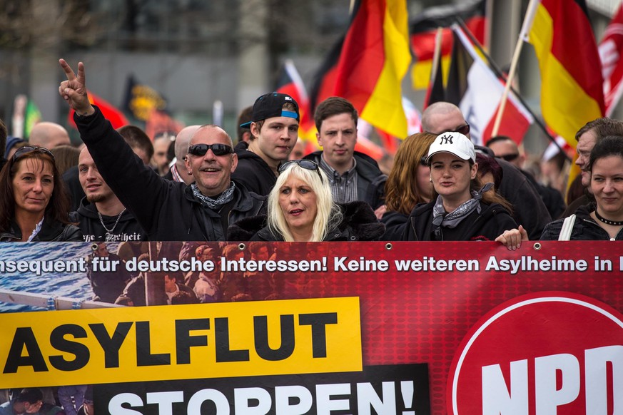 Eine Demonstration der NPD in Essen im April 2016.