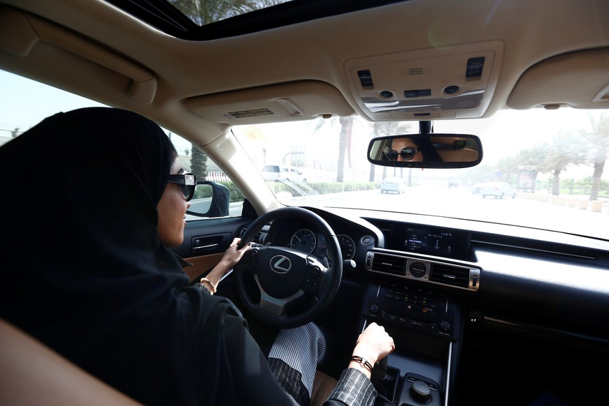 Majdooleen, who is among the first Saudi women allowed to drive in Saudi Arabia, drives her mother to work in Riyadh, Saudi Arabia June 24, 2018. REUTERS/Faisal Al Nasser