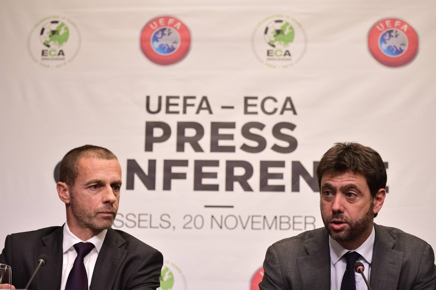 UEFA President Aleksander Ceferin and ECA Chairman Andrea Agnelli pictured during a press conference PK Pressekonferenz of the Union of European Football Associations UEFA, Tuesday 20 November 2018 in Brussels. Earlier Tuesday, there was a meeting with the European Commissioner for Education, Culture, Youth and Sports. LAURIExDIEFFEMBACQ PUBLICATIONxINxGERxSUIxAUTxONLY x05473414x