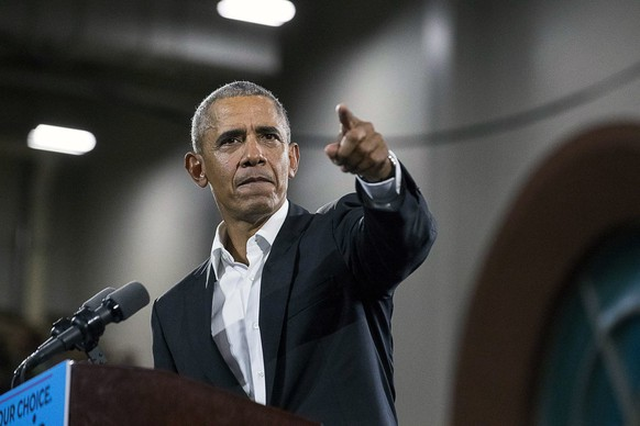 Former President Barack Obama speaks during a rally for Democratic gubernatorial candidate Stacey Abrams, Friday, Nov. 2, 2018 at Morehouse College in Atlanta. (Alyssa Pointer/Atlanta Journal-Constitution via AP)