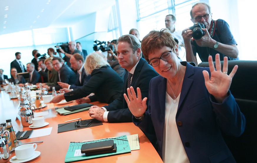 BERLIN, GERMANY - JULY 31: Defense Minister Annegret Kramp-Karrenbauer (CDU) arrives for the weekly German federal Cabinet meeting on July 31, 2019 in Berlin, Germany. High on the meeting's agenda was discussion of taxes on electric vehicles.  (Photo by Adam Berry/Getty Images)