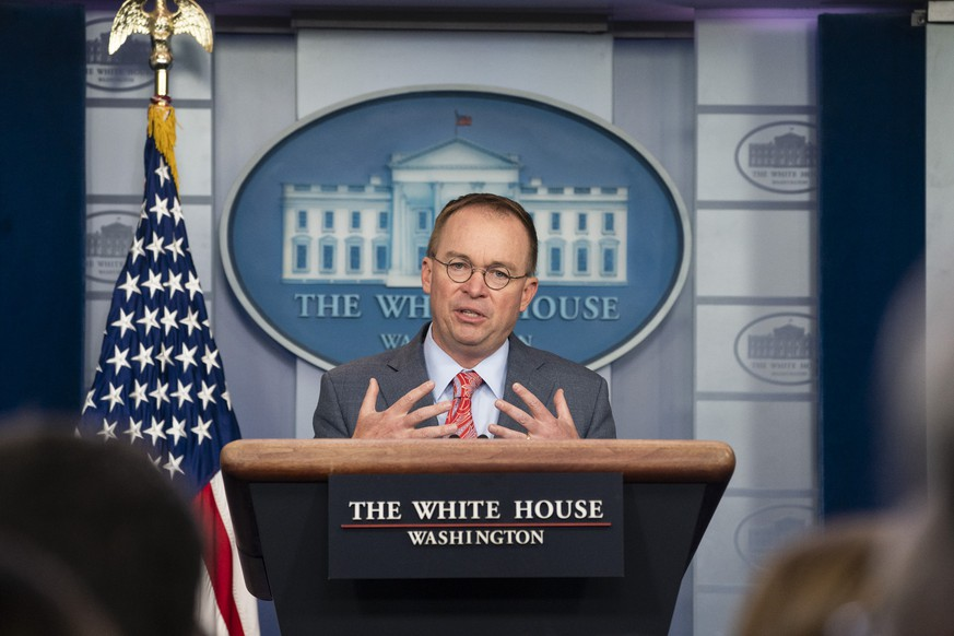 October 17, 2019, Washington, District of Columbia, USA: White House acting Chief of Staff MICK MULVANEY speaks with reporters Thursday, in the James S. Brady Press Briefing Room at the White House. Mulvaney acknowledged quid pro quo Thursday and that President Trump expected concessions from Ukraine s president in exchange for engagement. Washington USA PUBLICATIONxINxGERxSUIxAUTxONLY - ZUMA 20191017newz03001 Copyright: xJoycexN.xBoghosian/WhitexHousex