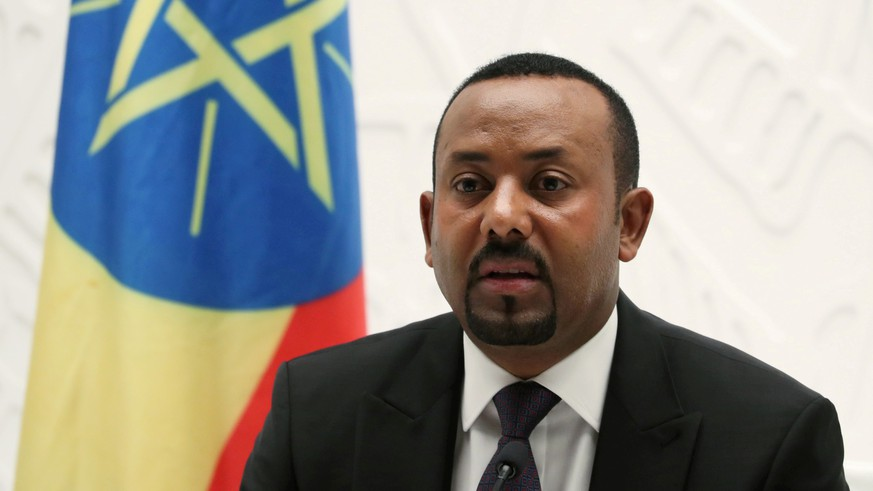 FILE PHOTO: Ethiopia's Prime Minister Abiy Ahmed speaks at a news conference at his office in Addis Ababa, Ethiopia August 1, 2019. REUTERS/Tiksa Negeri/File Photo