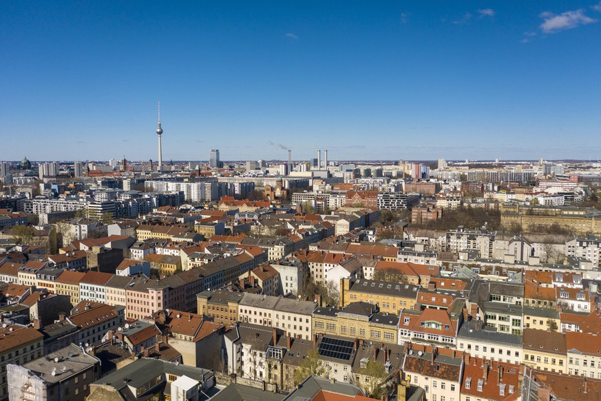 Germany, Berlin, Aerial view of Kreuzberg district with Fernsehturm Berlin in background TAMF02405