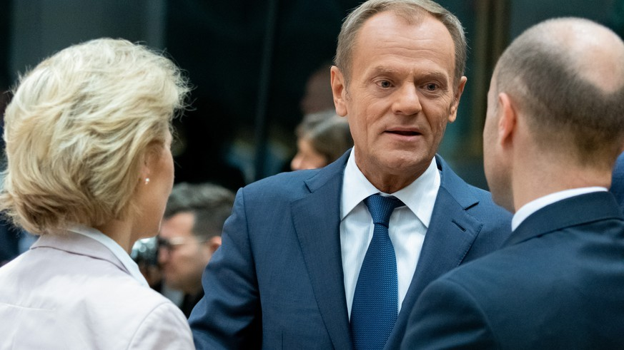 BELGIUM, BRUSSELS, OCT. 18, 2019 - European Summit - Future European Commission president Ursula Von der Leyen and European Council President Donald Tusk Copyright Danny Gys / Reporters Reporters / GYS PUBLICATIONxINxGERxSUIxAUTxHUNxONLY ChristophexLicoppe