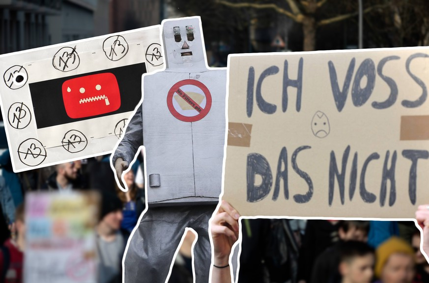 Demo gegen die Reform des Urheberrechts - Protest gegen Art. 13 Mehrere zehntausend Menschen protestieren in Berlin unter dem Motto Save your Internet gegen die geplante EU-Urheberrechtsreform. Die Demonstranten kritisieren den geplanten Artikel 13 der Reform, der Internetanbieter verpflichtet, urheberrechtlich geschützte unlizenzierte Inhalte zu entfernen. Sie befürchten, dass dies durch sogenannte Uploadfilter geschieht. Berlin Berlin Deutschland *** Demo against the reform of the copyright Protest against kind 13 Several ten thousand humans protest in Berlin under the slogan Save your Internet against the planned European Union copyright reform the demonstrators criticize the planned article 13 of the reform of the Internet offerers obligated copyright-protected unlicensed contents to remove you fear that this happens by so-called
