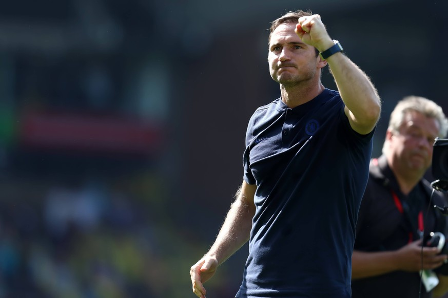 24th August 2019; Carrow Road, Norwich, Norfolk, England, English Premier League Football, Norwich versus Chelsea Football Club; Chelsea Manager Frank Lampard celebrates his first win with Chelsea - Strictly Editorial Use Only. No use with unauthorized audio, video, data, fixture lists, club/league logos or live services. Online in-match use limited to 120 images, no video emulation. No use in betting, games or single club/league/player publications PUBLICATIONxINxGERxSUIxAUTxHUNxSWExNORxDENxFINxONLY ActionPlus12162367 ShaunxBrooks