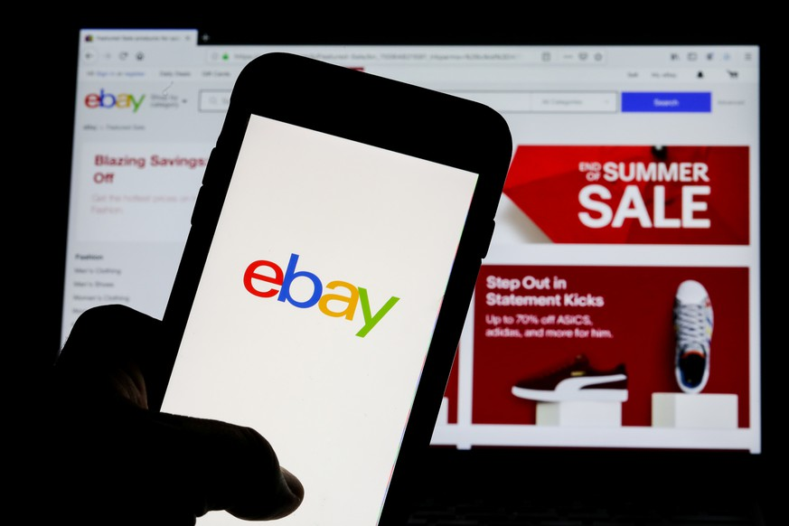 The eBay logo is pictured on a phone screen in this photo illustration in New York, U.S., July 23, 2019. REUTERS/Brendan McDermid/Illustration