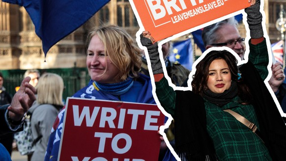 LONDON, ENGLAND - JANUARY 08: Anti-Brexit protesters demonstrate outside the Houses of Parliament in Westminster on January 08, 2019 in London, England. MPs in Parliament are to vote on Theresa May's Brexit deal next week after last month's vote was called off in the face of a major defeat. (Photo by Jack Taylor/Getty Images)