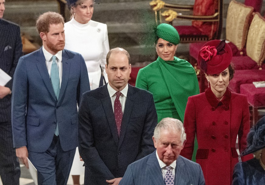 Harry, William, Meghan und Kate (v.l.) am Commonwealth Day 2020 in der Londoner Westminster Abbey.
