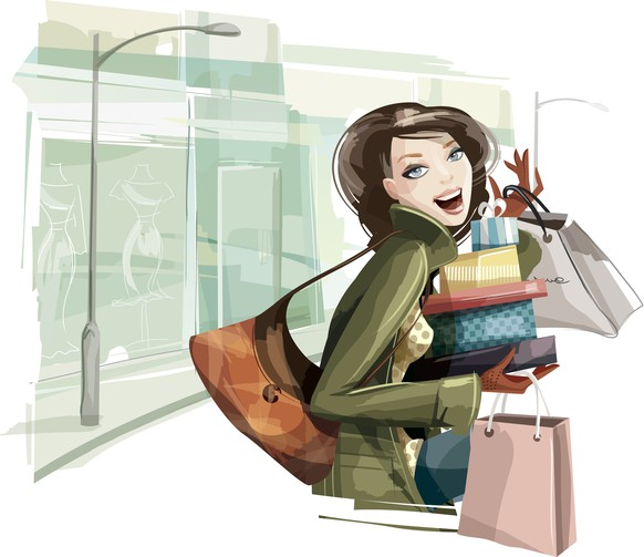 Illustration of a young woman shopping. Woman and background are grouped and layered separately.