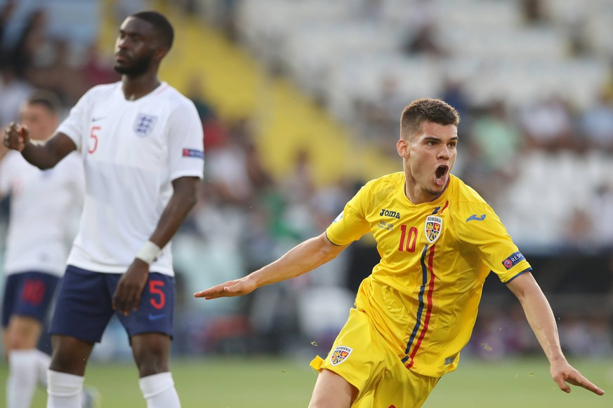 Ianis Hagi of Romania celebrates after scoring to give the side a 2-1 lead during the UEFA Under-21 Championship 2019 match at Dino Manuzzi, Cesena. Picture date: 21st June 2019. Picture credit should read: Jonathan Moscrop/Sportimage PUBLICATIONxNOTxINxUK SPI-0103-0324