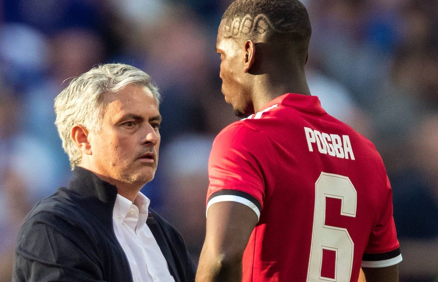 Man Utd Manager Jose Mourinho and Paul Pogba of Man Utd at full time during the FA Cup FINAL match between Chelsea and Manchester United ManU at Wembley Stadium, London, England on 19 May 2018. PUBLICATIONxNOTxINxUK Copyright: xAndyxRowlandx PMI-2040-0006