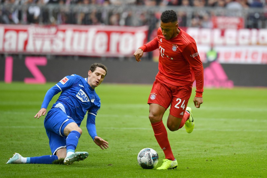 v.li:Sebastian RUDY 1899 Hoffenheim, Aktion,Zweikampf gegen Corentin TOLISSO Bayern Muenchen. Fussball 1. Bundesliga,7.Spieltag,Spieltag07, FC Bayern Muenchen M - TSG 1899 Hoffenheim 1-2, am 05.10.2019 in Muenchen A L L I A N Z A R E N A, DFL REGULATIONS PROHIBIT ANY USE OF PHOTOGRAPHS AS IMAGE SEQUENCES AND/OR QUASI-VIDEO.  v li Sebastian RUDY 1899 Hoffenheim , action,duel against Corentin TOLISSO Bayern Muenchen Fussball 1 Bundesliga,7 Spieltag,Spieltag07, FC Bayern Muenchen M TSG 1899 Hoffenheim 1 2, on 05 10 2019 in Munich A L L I A N Z A R E N A, DFL REGULATIONS PROHIBIT ANY USE OF PHOTOGRAPHS AS IMAGE SEQUENCES AND OR QUASI VIDEO