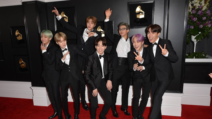 10 February 2019 - Los Angeles, California - Jin, Suga, J-Hope, RM, Jimin, V, Jungkook, BTS. 61st Annual GRAMMY Awards held at Staples Center. Photo Credit: AdMedia 235156 2019-02-10 California Los Angeles Etats-Unis PUBLICATIONxINxGERxAUTxONLY Copyright: xAdMediax STAR_235156_101