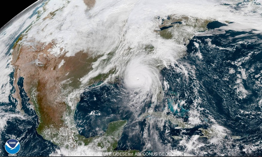 Oct 10, 2018 - Florida, U.S. - From 22,000 miles above the Earth s surface, a weather satellite run by the National Oceanic and Atmospheric Administration captured high-resolution imagery of Hurricane Michael s menacing eye over the Gulf of Mexico Wednesday morning. The latest report from s National Hurricane Center indicates winds up to 150 mph are associated with the eye of Michael as it moves onshore to Florida s panhandle. Michael is a Category 4 storm and winds would need to increase to 157 mph for it to reach Category 5. Tallahassee U.S. PUBLICATIONxINxGERxSUIxAUTxONLY - ZUMAz03_ 20181010_rua_z03_854 Copyright: xNOAAx