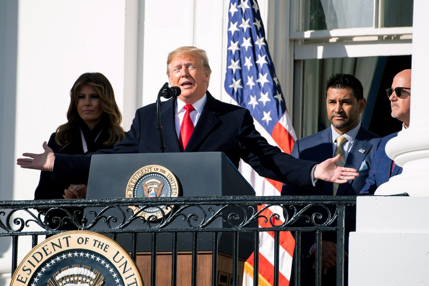 President Donald Trump speaks as he welcomes the 2019 World Series champion Washington Nationals to the White House in Washington, DC on Monday, November 4, 2019. PUBLICATIONxINxGERxSUIxAUTxHUNxONLY WAP20191104331 KevinxDietsch