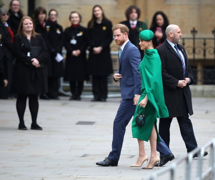 Prince Harry The Duke of Sussex, and Meghan Markle The Duchess of Sussex. The Commonwealth Service at Westminster Abbey today, attended by Queen Elizabeth II, Prince Charles The Prince of Wales, Camilla The Duchess of Cornwall, Prince William The Duke of Cambridge, Catherine The Duchess of Cambridge, Prince Harry The Duke of Sussex, Meghan Markle The Duchess of Sussex, Prince Edward The Earl of Wessex, Sophie The Countess of Wessex, along with heads of government and representatives of the countries of the Commonwealth. Commonwealth Service, Westminster Abbey, London, March 9, 2020. PUBLICATIONxNOTxINxUK