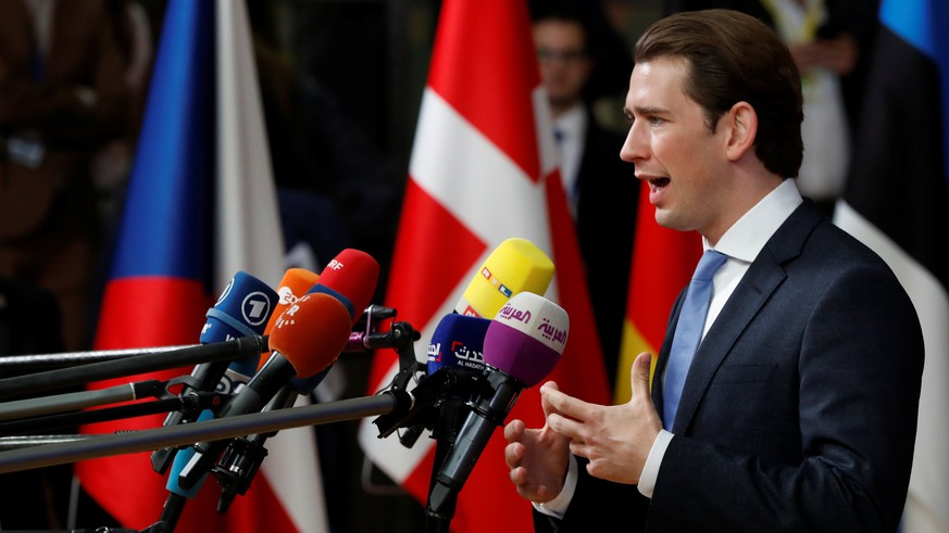 Austrian Chancellor Sebastian Kurz speaks to the media at an European Union leaders summit in Brussels, Belgium October 17, 2018. REUTERS/Yves Herman