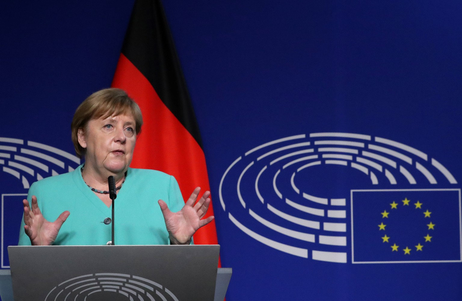 German Chancellor Angela Merkel speaks during an opening statement with European Parliament President David Sassoli (not pictured) ahead of a debate with EU lawmakers on Germany's presidency of the EU, in Brussels, Belgium July 8, 2020.  REUTERS/Yves Herman