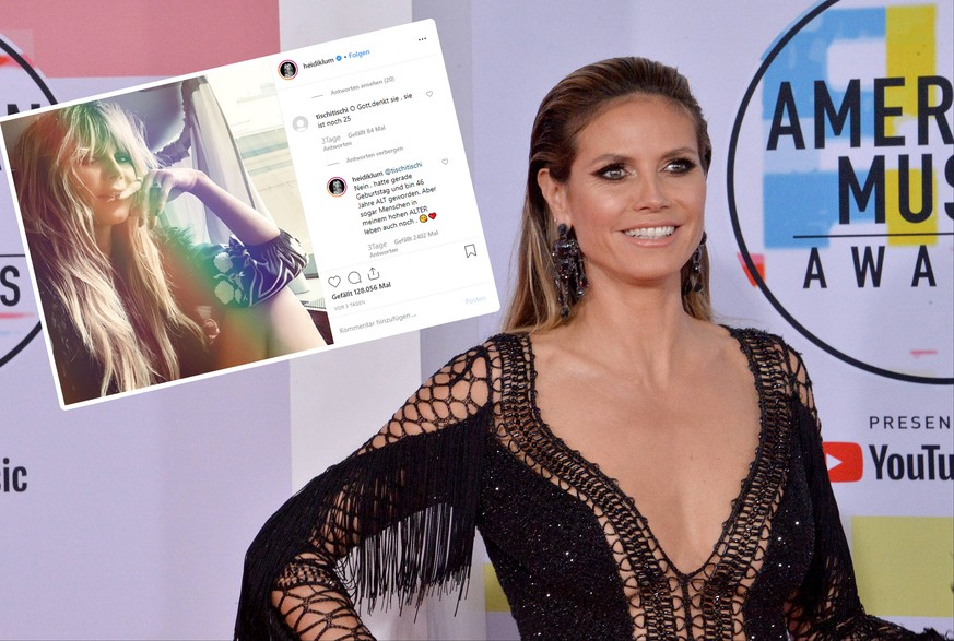 TV personality Heidi Klum arrives for the 46th annual American Music Awards at the Microsoft Theater in Los Angeles on October 9, 2018. PUBLICATIONxINxGERxSUIxAUTxHUNxONLY LAP20181009427 JIMxRUYMEN