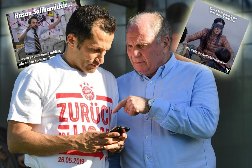 v.re:Uli HOENESS (Höness,Praesident Bayern Muenchen) mit Hasan SALIHAMIDZIC (Sportdirektor Bayern Muenchen). Fussball Regionalliga, Aufstieg in die 3. Liga. FC Bayern Muenchen Amateure-VFL Wolfsburg 4-1, am 26.05.2019 in Muenchen Gruenwalder Stadion. DFL REGULATIONS PROHIBIT ANY USE OF PHOTOGRAPHS AS IMAGE SEQUENCES AND/OR QUASI-VIDEO. *** v re Uli HOENESS Höness,President Bayern Muenchen with Hasan SALIHAMIDZIC Sports Director Bayern Muenchen Soccer Regional League, promotion to the 3 League FC Bayern Muenchen Amateurs VFL Wolfsburg 4 1, on 26 05 2019 in Munich Gruenwalder Stadium DFL REGULATIONS PROHIBIT ANY USE OF PHOTOGRAPHS AS IMAGE SEQUENCES AND OR QUASI VIDEO