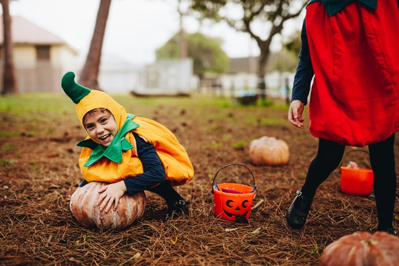 Happy little girl in halloween costume trying to pick a big pumpkin from ground. Little children having fun on halloween.