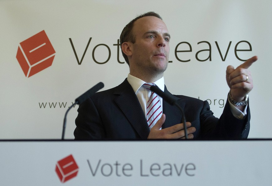 epa05236093 Conservative Member of Parliament and Justice Minister Dominic Raab delivers a speech at a 'Vote Leave' event at the Royal Horseguards Hotel, Central London, 30 March 2016. Raab's speech covered the implications for the security of the United Kingdom as well as encouraging Britons to vote to leave the EU on 23 June 2016. EPA/WILL OLIVER |