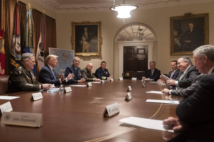 May 8, 2020, Washington, DC, United States of America: U.S. President Donald Trump, joined by Secretary of State Mike Pompeo, delivers remarks to a meeting of senior military leaders and national security team members in the Cabinet Room of the White House May 8, 2020 in Washington, D.C. Washington United States of America - ZUMAp138 20200508zaap138030 Copyright: xJoycexBoghosian/WhitexHousex